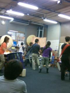 和太鼓フェスの合同練習です。